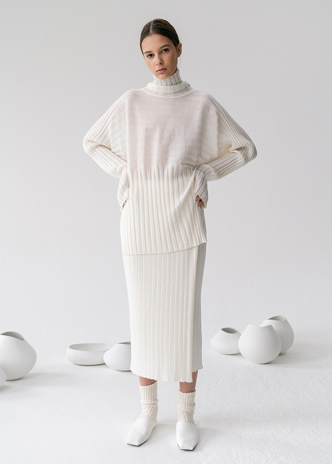 917 Wool Ribbed Turtleneck/SKirt_made of Extra fine wool