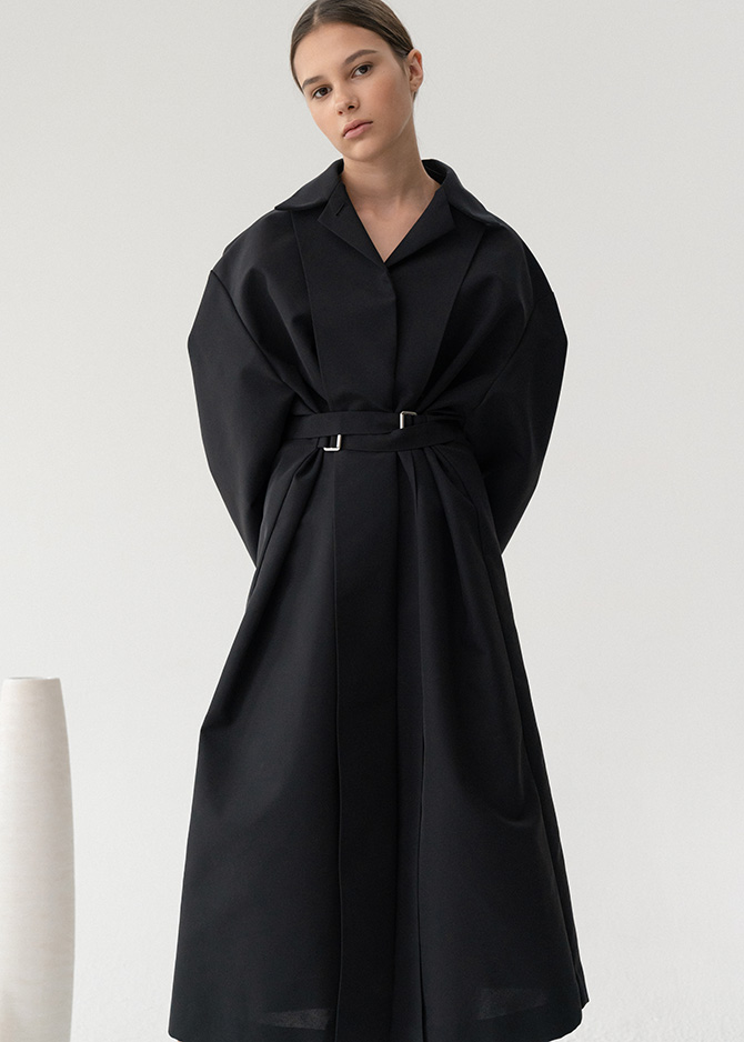 917 Black Inside-out Trench Coat_made of Italian Fabric